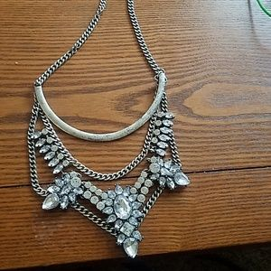 Silver necklace with gems
